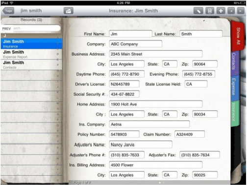 Figure 3 - Collect data and keep a mini database of all records directly on your iPad