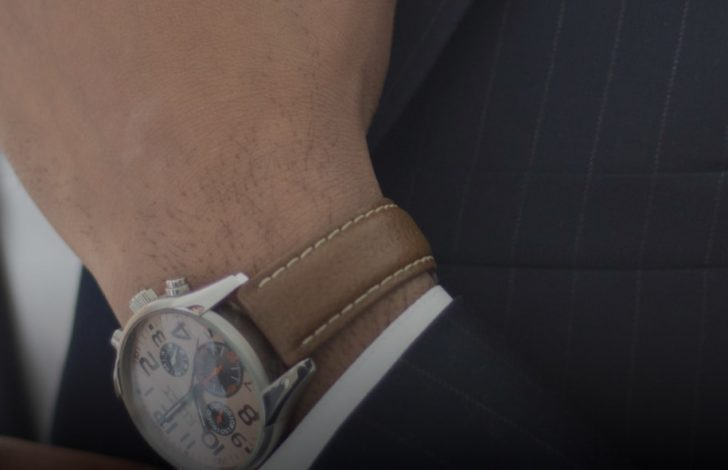 close up of a business man watch