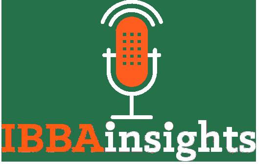 ibbainsights podcast branding in white and orange